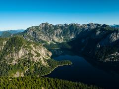 Aerial view of mountains and Widgeon Lake, BC Canada Stock Photos