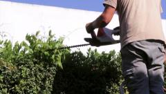 Home Gardener in  ladder - Trimming Hedge Stock Footage