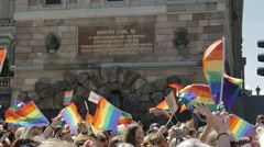 Lots of Pride flags in front of Stockholms Castle 1041 Stock Footage