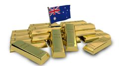 Australian economy concept with gold bullion and national flag Stock Illustration