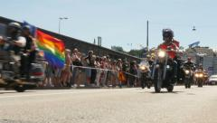 Motorcycles with flags pride Stockholm 1037 Stock Footage