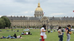 People relaxing near Les Invalides Stock Footage
