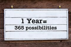 Inspirational message - One Year equal 365 possibilities - stock photo