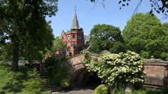 The Dell and Lyceum in village of Port Sunlight, Wirral, England - stock footage