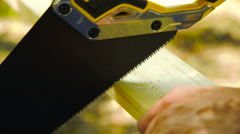 Man cutting wood with a hand saw - stock footage