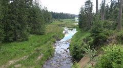Harz mountain range panning with river Oder spring water Stock Footage