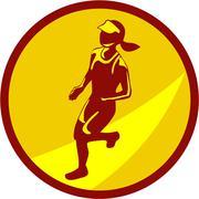 Female Marathon Runner Circle Retro Piirros