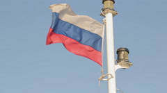Russian Flag on the Ship Stock Footage