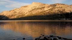 Tenaya Lake before sunset in Yosemite National Park, California, USA - stock footage