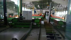 A Production Lane of Double Panes Located in a Spacious Workshop of a Glass Stock Footage