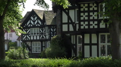 houses in arts and crafts architecture, Port Sunlight village Wirral - stock footage