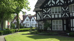 Half-timbered houses Port Sunlight model village Wirral, England Stock Footage