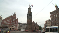 Amsterdam Muntplein Square and Muntorren 1 Stock Footage