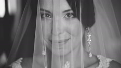 Portrait of a Bride Covered With Veil - stock footage