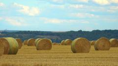 French countryside - Many big hay bales in field  - Panoramic 1 Stock Footage