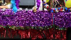 Festive purple platform truck on gay pride Stock Footage