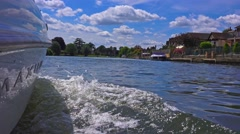 Wake from motorboat on river 1 Stock Footage