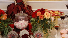 Homemade fancy set table with sweets candies Stock Footage