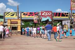 People standing in Line at Columbus Zoo Entrance - stock photo