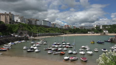 Tenby harbour and quay, Pembrokeshire, Wales Stock Footage