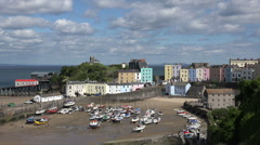 Low tide at Tenby harbour and quay, Pembrokeshire, Wales Stock Footage