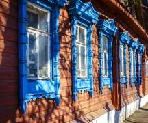 Traditional old Russian house facade - stock photo