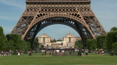 Eiffel Tower Base Wide Shot Stock Footage