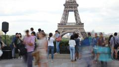 Tourists watching Eiffel tower from Trocadero Stock Footage