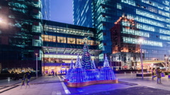The Christmas tree and buildings of global trade center in Beijing,China. 360° Stock Footage