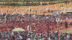 Crowds and flags at gathering with Sakya Trizin,Choglamsar,Ladakh,India Stock Footage