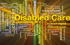 Disabled care background concept glowing - stock illustration