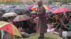 Man prays at gathering,Choglamsar,Ladakh,India Stock Footage