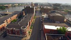 Aerial View of Downtown Green Bay Wisconsin on Calm Summer Morning Stock Footage