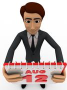 3d man 12th august calendar concept - stock illustration