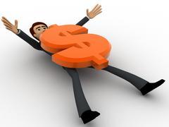Stock Illustration of 3d man crushed under dollar symbol concept