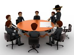 3d man giving presentation in business meeting in zorro constume concept Stock Illustration