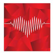 Red heart beats with cardiogram on geometrical background Stock Illustration