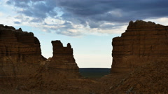 Goblin Valley Utah Clouds in Time Lapse At Mollies Castle - stock footage