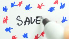 4K SAVE Writing on paper - stock footage