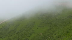 The slopes below the clouds. Ridge Aibga. Sochi, Russia. 1280x720 Stock Footage