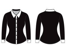 Blank shirt with long sleeves template for woman (front and back views) - stock illustration