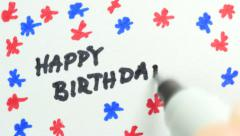 4K Happy Birthday Being Write On Paper Stock Footage