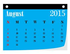 Calendar August 2015 Stock Illustration