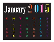 Stock Illustration of Calendar January 2015