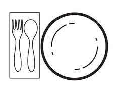empty plate with spoon and fork on a white background - stock illustration