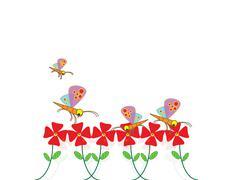 Fly dragonfly in flower - stock illustration