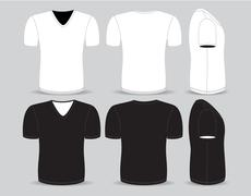 Front,back and side views of blank t-shirt Stock Illustration