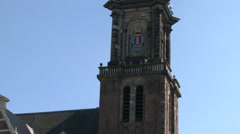 Westerkerk Tower and Netherlands Flag 2 Stock Footage
