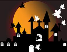 Halloween with haunted house Stock Illustration