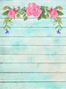 Shabby Chic Wood Background with Floral Vignette - stock illustration